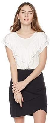 Painted Heart Women's Cap-Sleeve Ruffle Front Top