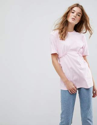 Asos DESIGN T-Shirt with Shirred Waist and Mini Lace Ruffle