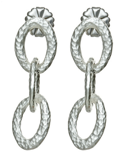 Style Naturale Silver Three Link Drop Earrings