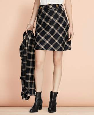 Brooks Brothers Windowpane Wool Boucle Skirt