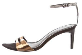 Tibi Metallic Cutout Sandals
