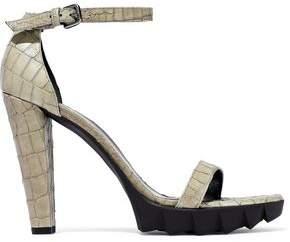 Stuart Weitzman Croc-effect Leather Platform Sandals