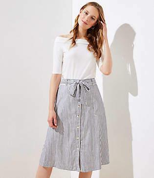 LOFT Striped Tie Waist Button Front Skirt