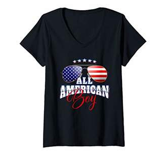 Womens All American Boy Flag Sunglasses Red White V-Neck T-Shirt