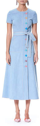 Carolina Herrera Short-Sleeve Off-Center Button-Front Long Denim Shirtdress