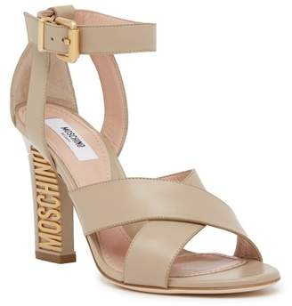 Moschino Leather Logo Heel Sandal