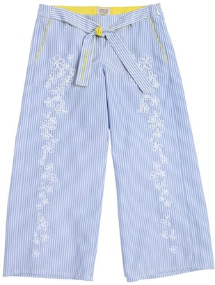 Armani Junior Embroidered Striped Cotton Oxford Pants