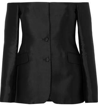 Gabriela Hearst - Dorothea Off-the-shoulder Silk And Wool-blend Blazer - Black