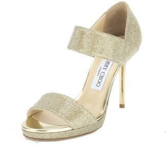 Jimmy Choo Glitter Gold Lame Alana Sandal, Size 36 (New with Tags)