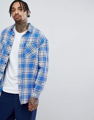 Asos DESIGN oversized brushed check shirt with optic wash