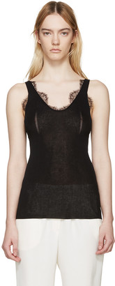 Lanvin Black Knit Lace Tank Top $835 thestylecure.com