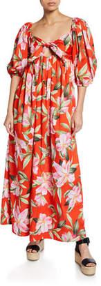 Mara Hoffman Violet Floral-Print Tie-Front Organic Cotton Maxi Dress