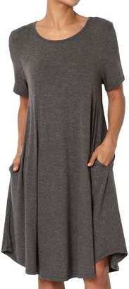 TheMogan Women's Short Sleeve Trapeze Knit Pocket T-Shirt Dress 1XL