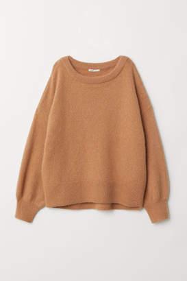 H&M Knit Mohair-blend Sweater - Beige