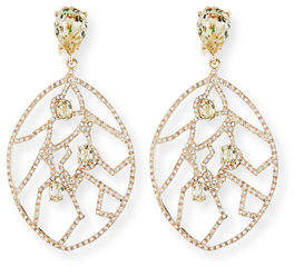 Oscar de la Renta Crystal Fern Statement Clip-On Earrings
