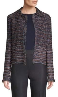 St. John Ombre Ribbon Knit Fringe Jacket