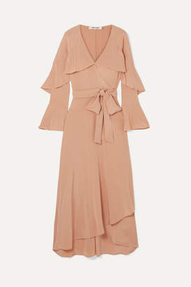Diane von Furstenberg Isla Ruffled Silk Crepe De Chine Wrap Dress - Neutral