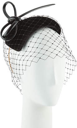 Philip Treacy Hand-Blocked Velvet Veiled Calotte Fascinator Hat