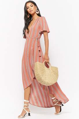Forever 21 Striped High-Low Wrap Dress