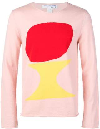 Comme des Garcons Boys rounded intarsia motive jumper