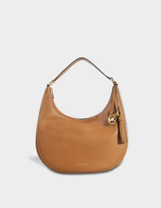 72085aeb37b49 MICHAEL Michael Kors Lydia Large Hobo Bag in Acorn Small Pebble Leather