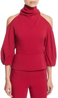 CUSHNIE Turtleneck Cold-Shoulder Blouson-Sleeve Stretch-Fabric Top
