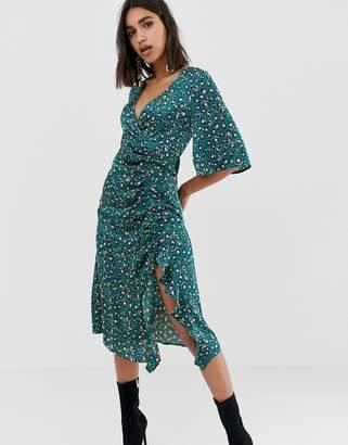 PrettyLittleThing side split ruched satin midi dress in teal leopard
