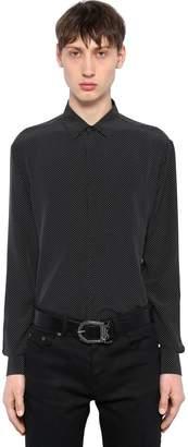 Saint Laurent Yves Micro Polka Dot Silk Shirt