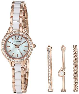 Anne Klein Women's AK/1954RGST Swarovski Crystal Accented Rose Gold-Tone and White Ceramic Watch and Bracelet Set