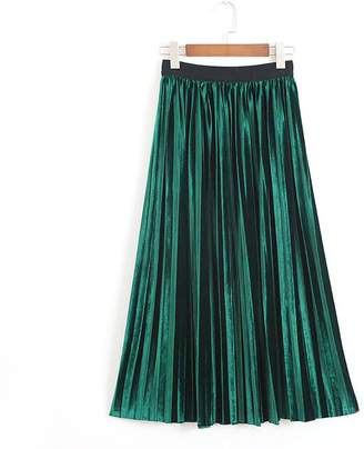 YOUMU Vintage Women A Line Pleated Velvet Skirt Flare Swing Midi Calf Dress