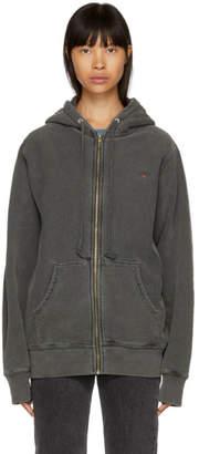 Noah NYC Grey Logo Zip-Up Hoodie