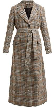 Miu Miu Prince Of Wales Check Crystal Applique Wool Coat - Womens - Brown Multi