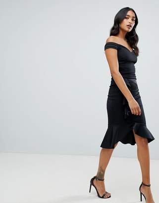 Lipsy bardot wrap dress with asymmetric hem in black