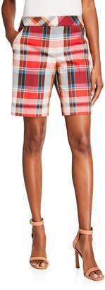 Trina Turk Moss Plaid Bermuda Shorts