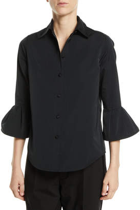 Marc Jacobs Button-Front 3/4 Ruffle Sleeve Slim Shirt