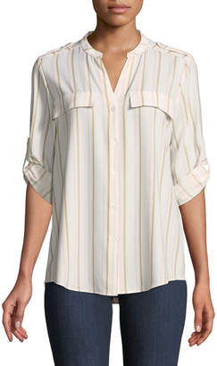Iconic American Designer Striped Button-Down Blouse
