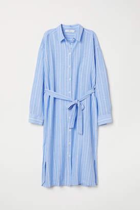 H&M Cotton-blend Shirt Dress - Blue