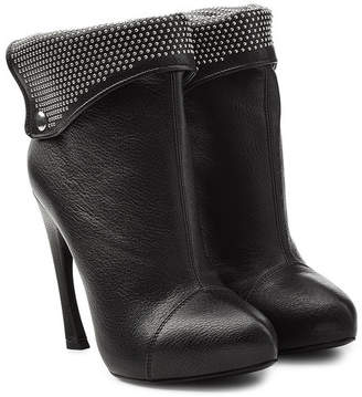 Alexander McQueen Leather Ankle Boots with Studded Cuff