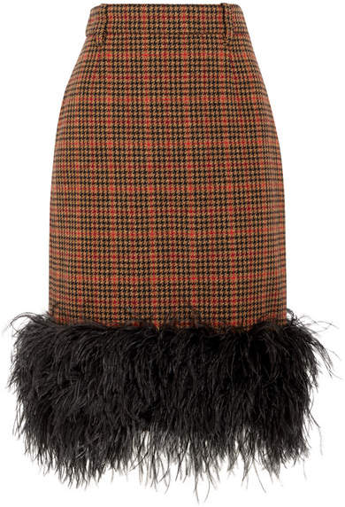 Prada - Feather-trimmed Checked Wool-blend Tweed Skirt - Orange
