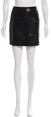 Hotel Particulier Printed Leather Skirt