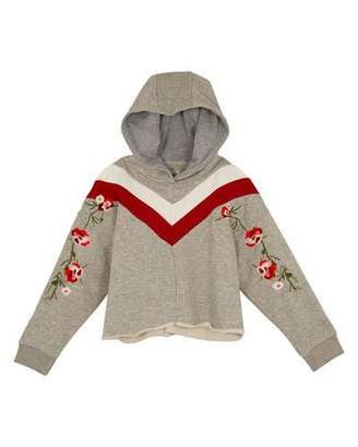 Hudson Willa Floral Embroidery Chevron Hoodie, Size S-XL