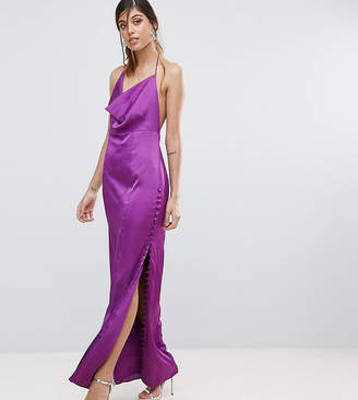 Fame & Partners Straight Gown with Button Detailing