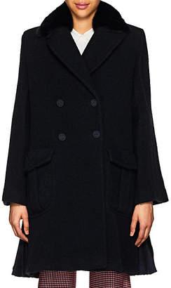 Fendi Women's Fur-Collar Wool Bouclé Coat - Navy