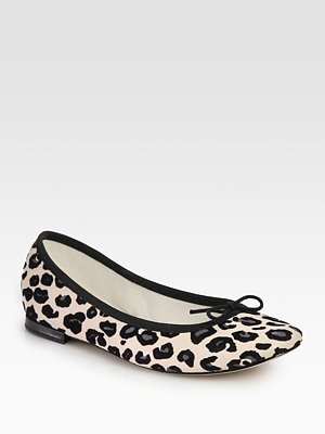 BB Leopard-Print Leather Ballet Flats