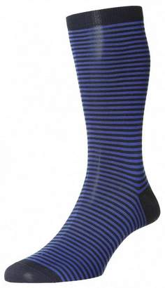 Pantherella Mens Farringdon Classic Stripe Cotton Lisle Socks - /Blue - Large