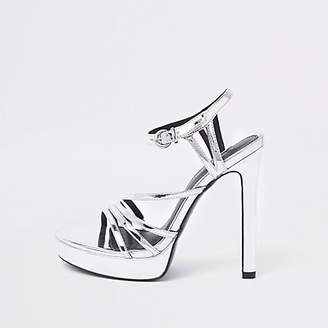 River Island Silver tone strappy platform sandals