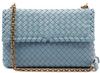Bottega Veneta Olimpia Small Intrecciato Leather Shoulder Bag - Womens - Light Blue