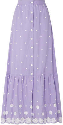 Miguelina Aiden Embroidered Cotton-voile Maxi Skirt - Purple
