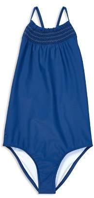 Ralph Lauren Girls' Smocked Swimsuit - Little Kid