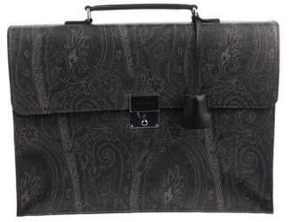 Etro Paisley Canvas Briefcase